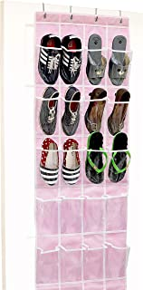 Over the Door Hanging Organizer (24 Clear Pocket, Pink)