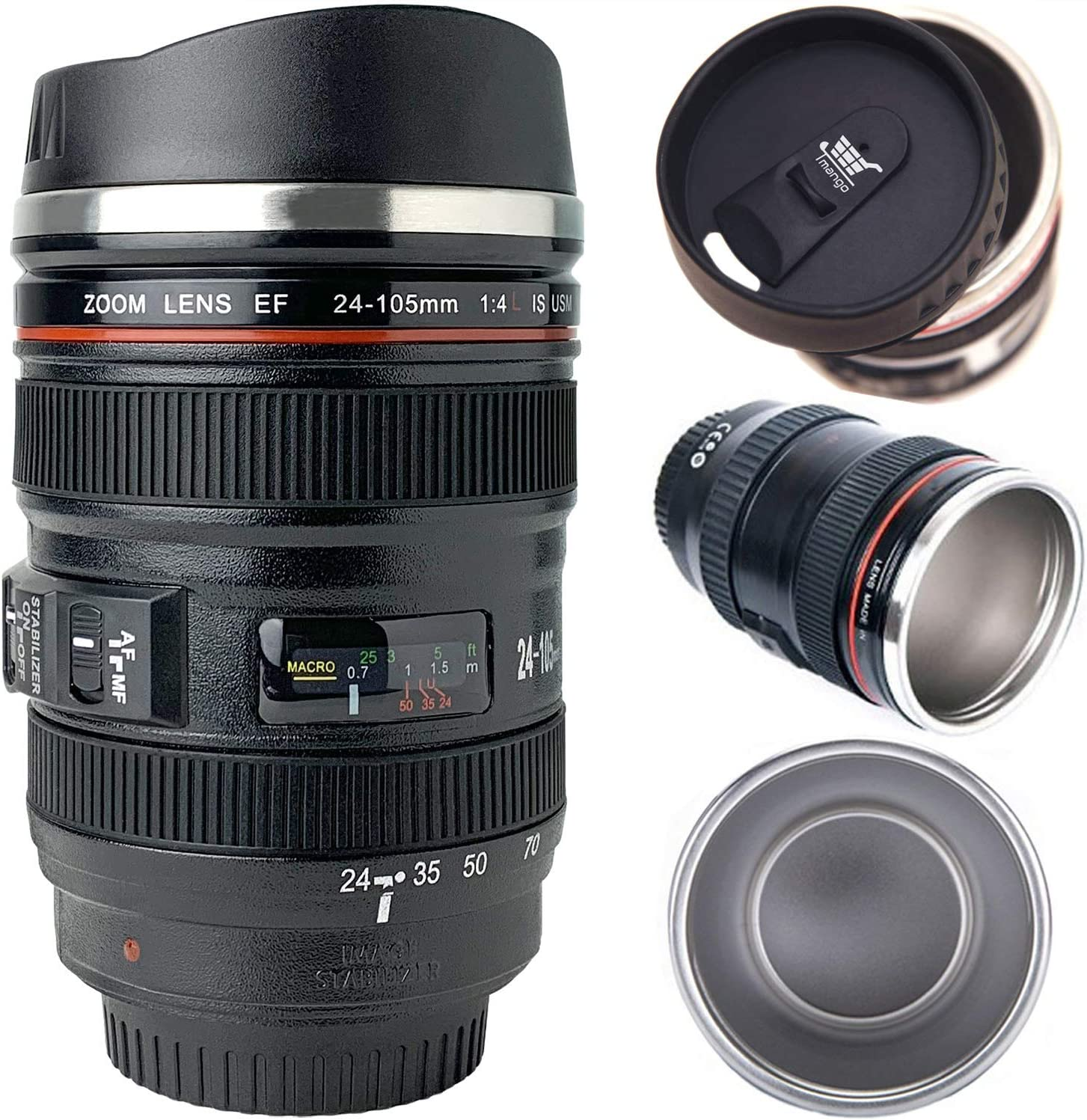 Tmango Camera Charlotte Mall Year-end annual account Lens Coffee Mug Stainless with St Lid Retractable