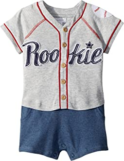 Mud Pie Baseball Raglan One-Piece Crawler (Infant)