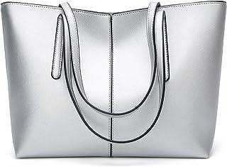 Vioaplem Fashion PU Leather Tote Shopping Bag Shoulder Messenger Travel Beach Bucket Handbag For Women (Color : Silver)