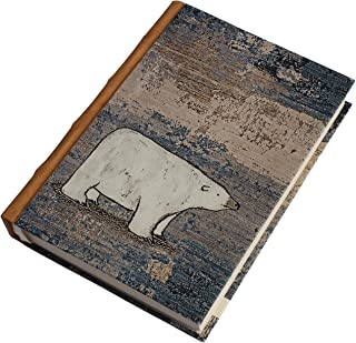 Handmade Planner Diary,Polar Bear,Eco-Friendly,Acid-FreeHandmade Paper,Flat Open,Hard Bound,Address Book,Genuine Leather Spine,125 GSM,176 Pages