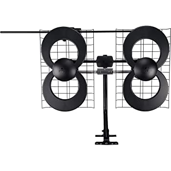 Antennas Direct Clearstream 4V TV Antenna, 70+ Mile Range, UHF/Vhf, Multi-Directional, Indoor, Attic, Outdoor, Mast W/Pivoting Base/Hardware/Adjustable Clamp/Sealing Pads, 4K Ready, Black – C4-V-CJM
