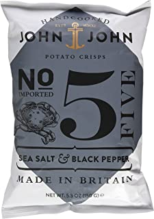 John & John Potato Crisps Sea Salt & Black Pepper 150g 1 x 150 g