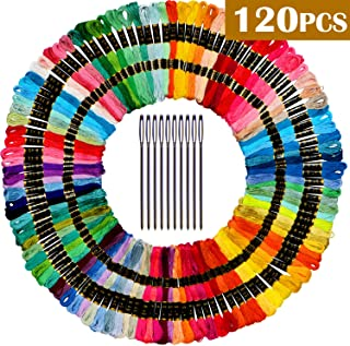 Premium Rainbow Color Embroidery Floss -Embroidery Thread- Cross Stitch Threads - Friendship Bracelets Floss - Crafts Floss - 110 Skeins Per Pack and Free Set of 10Needles