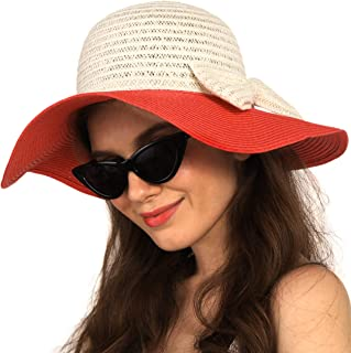 Straw Hat with Bow for Women Sun Hat Summer Wide Brim UV Protection Summer Floppy Foldable Roll Up Beach Cap