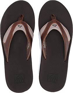 REEF Mens Leather Fanning Flip Flop, Adult