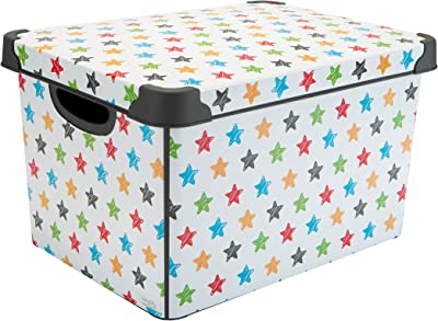 Simplify Star Storage Bin with Lid Home, Office, Closet, Bedroom, Nursery, Organize Clothes, Accessories, Toys Design Print Tote, White