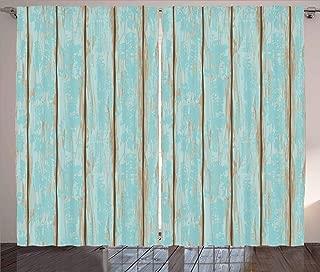 Lunarable Wood Print Curtains, Old Fashioned Weathered Rustic Planks Summer Cottage Beach Coastal Theme, Living Room Bedroom Window Drapes 2 Panel Set, 108