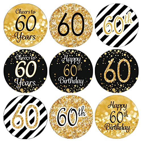 DISTINCTIVS Black And Gold 60th Birthday Party Favor Labels