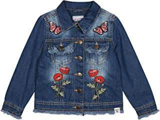 896797cab Mantaray Kids Girls' Blue Denim Embroidered Patch Jacket