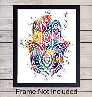 Hamsa Hand of Fatima Watercolor Art Print - 8x10 Unframed Photo - Perfect Gift for Meditation, Yoga or Zen Enthusiasts - Chic Home or Studio Decor