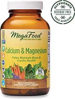 MegaFood, Calcium & Magnesium, Helps Maintain Bone and Cardiovascular Health, Vitamin and Dietary Supplement, Gluten Free, Vegan, 90 Tablets (45 Servings) (FFP)