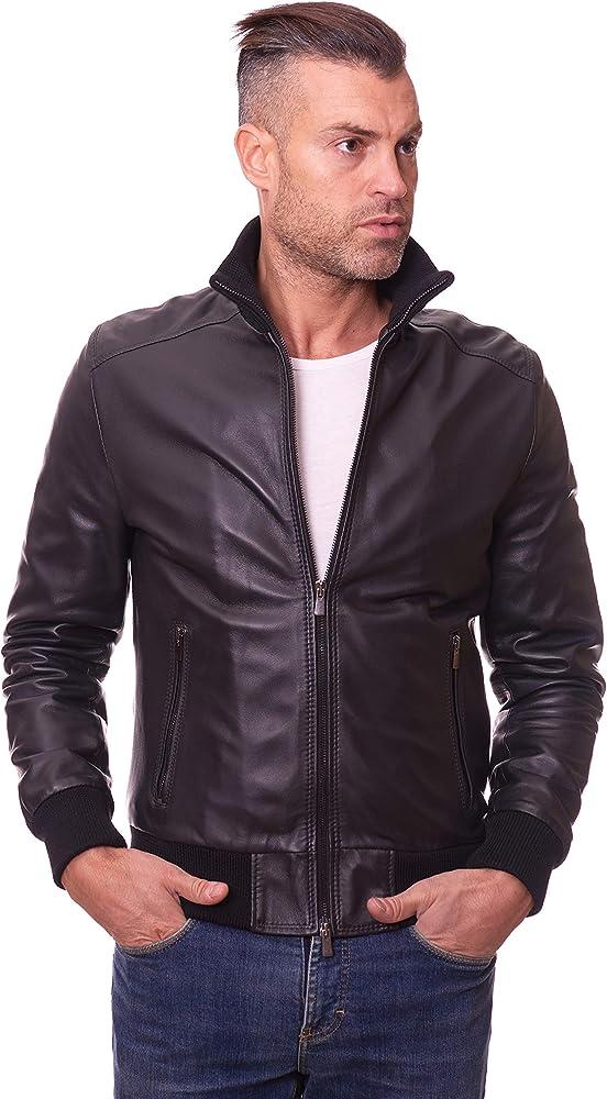 D arienzo giacca bomber in pelle per uomo 107_Nero_AI15