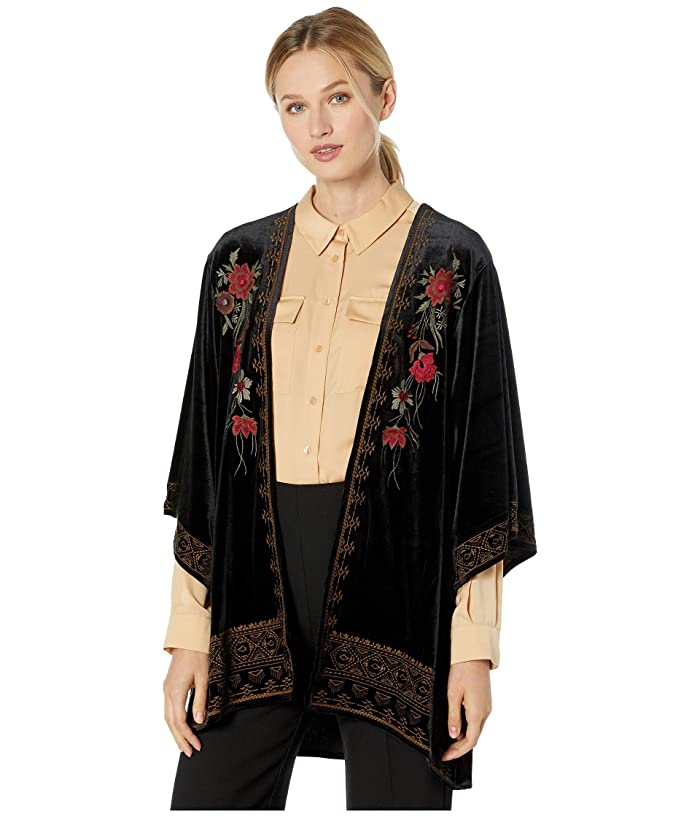 Vintage Coats & Jackets | Retro Coats and Jackets Tribal Embroidered Kimono Black Womens Clothing $97.20 AT vintagedancer.com