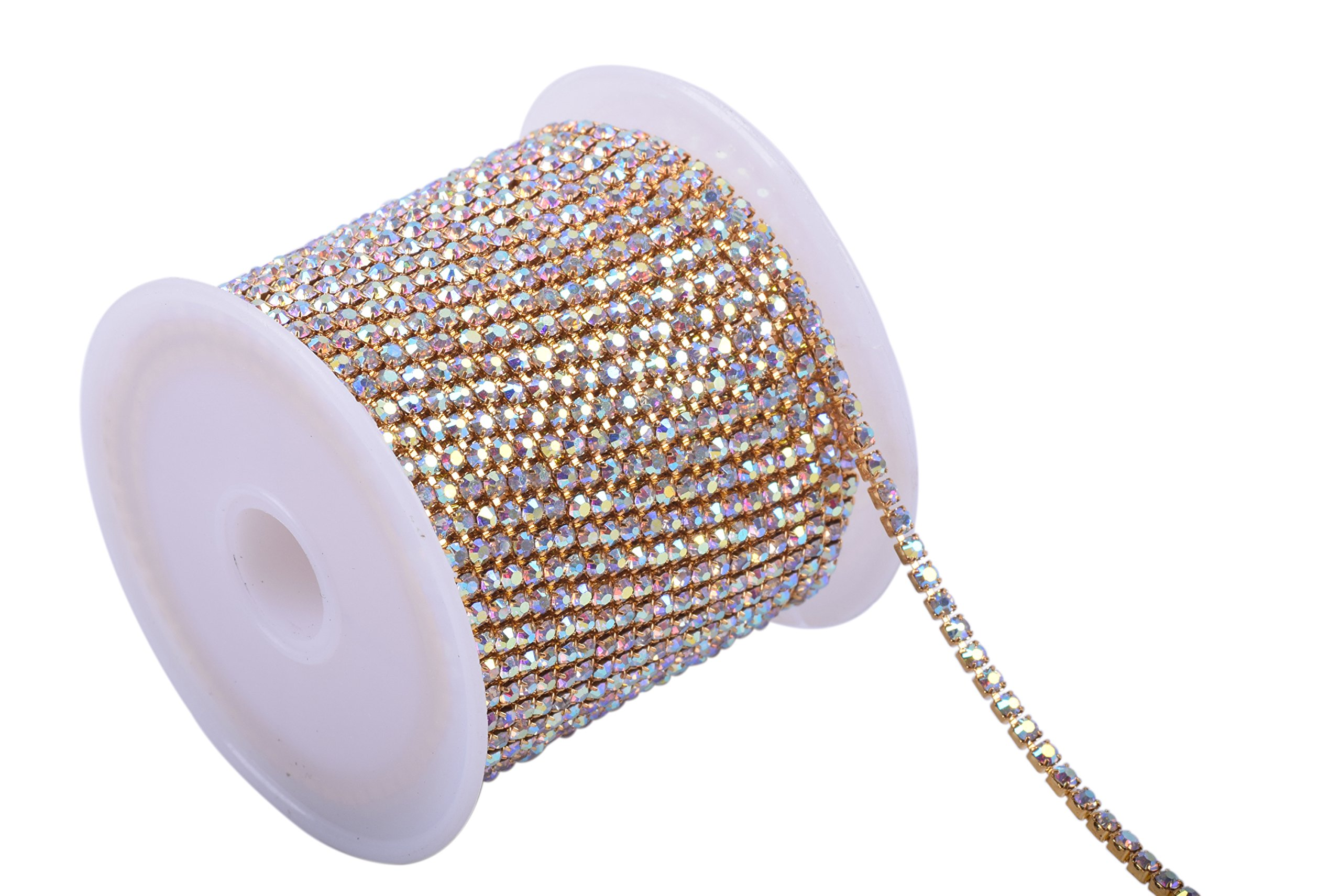 KAOYOO 10 Yards 2.5MM Crystal Rhinestone Close Chain Trim for Sewing Crafts,DIY Decoration