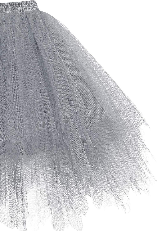 HomRain Tüllrock Damen 50er Rockabilly Petticoat Tutu Unterrock Halloween Cosplay Kurz Ballet Firt Tullet Ballkleid Zubehör Fasching Underskirt Grey
