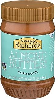 Crazy Richard's All Natural Almond Butter 16 oz Jar (Almond Butter, 1 Jar) 100% Almonds, Single Ingredient, Non-GMO, No Added Sugar, No Added Salt, Vegan, No Palm Oil, Gluten Free,