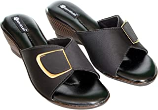 saanvishubh Faux Leather with Airmax Sole Low Heel Slippers for Girls and Women