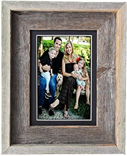 BarnwoodUSA 5 by 7 Inch Signature Picture Frame Matted for 4 by 6 Inch Photos- 100% Reclaimed Wood, Black Mat