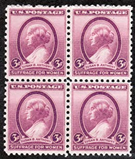 1936 Susan B Anthony Scott #784 4 X 3¢ U. S. Postage Stamps