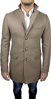 Cappotto Uomo Sartoriale Beige Slim Fit baronetto Giaccone Soprabito Invernale Casual Elegante