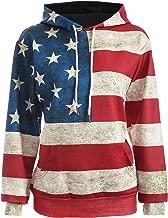 ABD Unisex USA American Flag Print 4th of July Patriotic Long Sleeve Pockets Slim Pullover Hoodie Sweatshirt