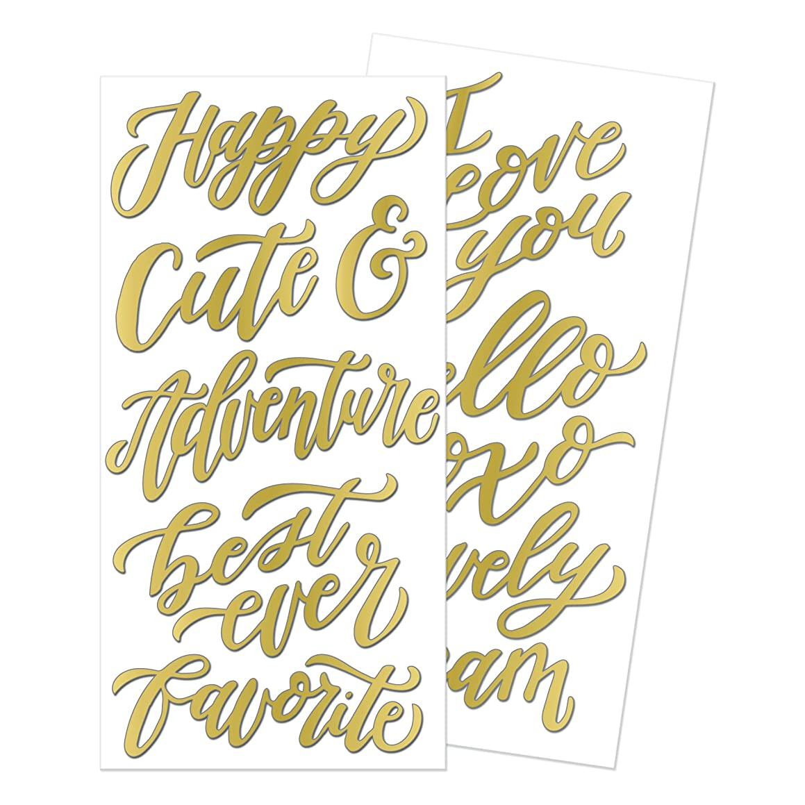 We R Memory Keepers 14 Piece Wildflower Thickers Words Gold Foil