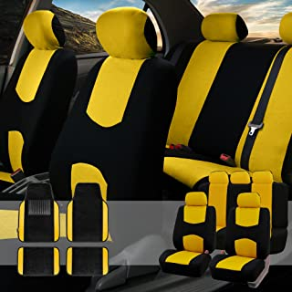 FH Group FB050115 + F14407 Full Set Flat Cloth Car Seat Covers with Premium Carpet Floor Mats, Yellow/Black- Fit Most Car, Truck, SUV, or Van