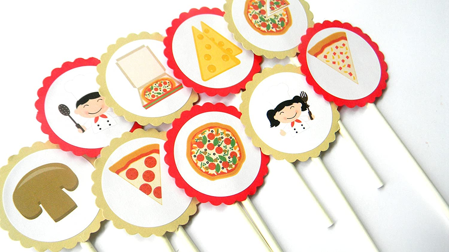 Pizza Cupcake Sacramento Mall Toppers - Max 47% OFF Set of 12