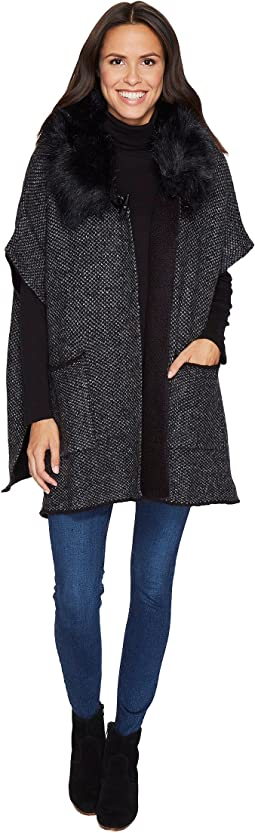 Steve Madden - Thick Knit Topper with Flat Fur Collar