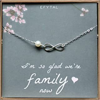 EFYTAL Mother of The Bride Gifts, Sterling Silver Necklace for Mother in Law Gifts from Daughter in Law or Groom