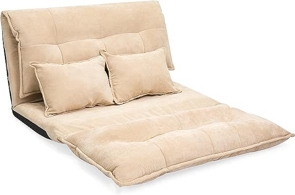 折叠地板沙发床 2 个羊毛枕头米色家用办公椅躺椅可调节靠背沙发座位家具宿舍游戏室放松