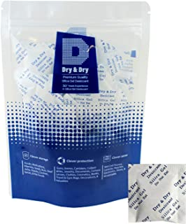 Dry & Dry 2 Gram [100 Packets] Premium Pure Silica Gel Packets Desiccant Dehumidifier - Food Safe Rechargeable(FDA Compliant) Silica Packets for Moisture
