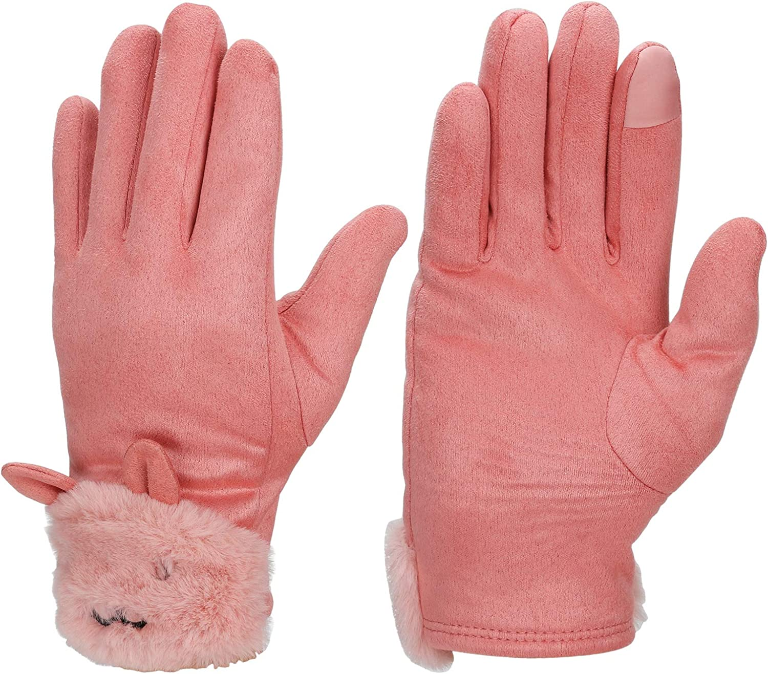 WIOR Women's Winter Touchscreen Texting Gloves, Thermal Soft Fleece Lined Suede Gloves with Faux Fur Cuff, Warm Winter Thick Windproof Snow Gloves for Women Girls Running Driving Cycling Skiing - Pink