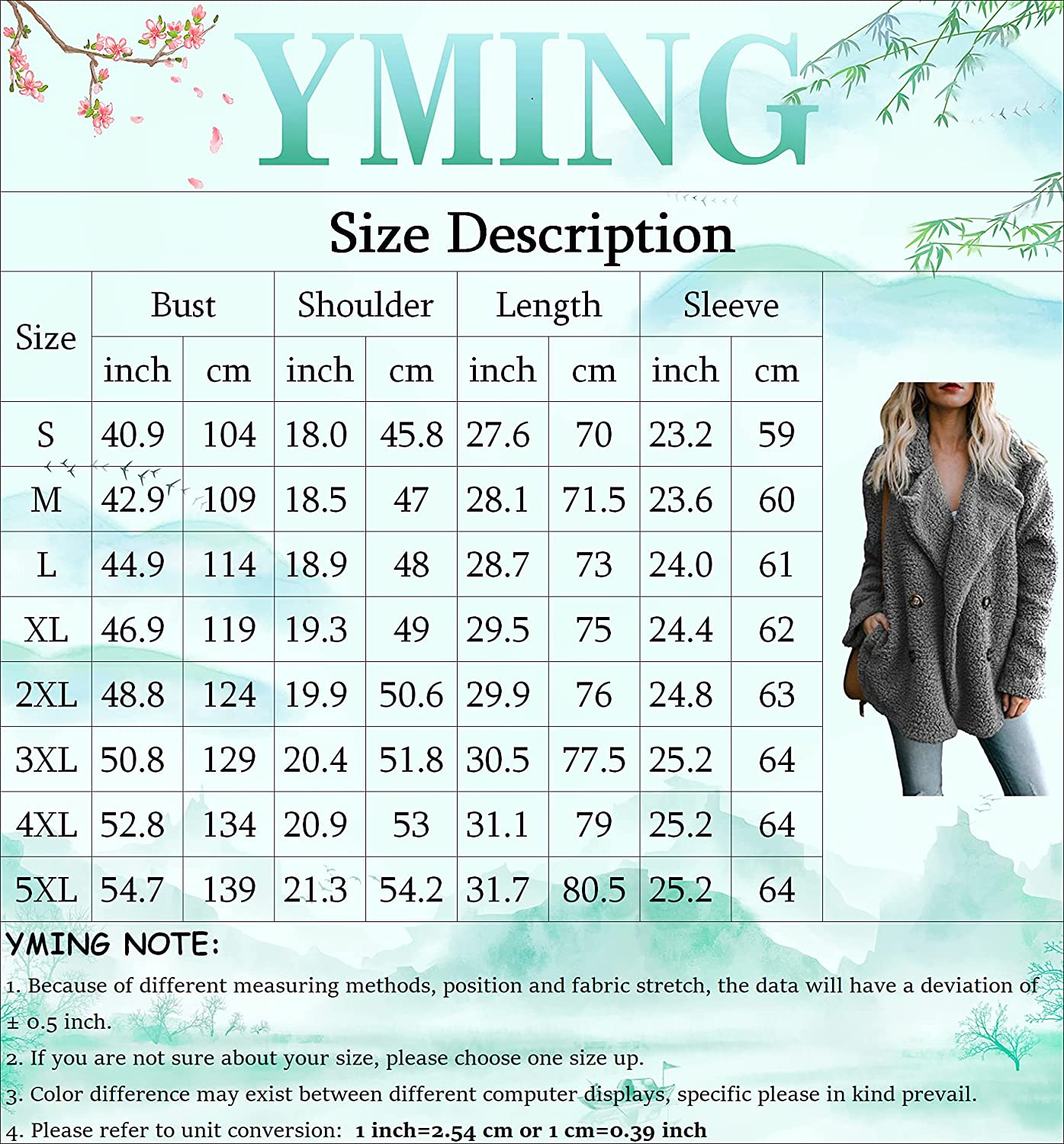 YMING Womens Plus Size Lapel Faux Fur Shaggy Jacket Winter Sherpa Coat Warm Double Breasted Outwear with Pockets