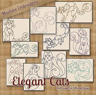 Elegant Cats Redwork Embroidery Machine Kitty Designs on CD - Multiformat