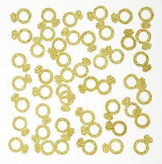 MOWO Gold Diamond Ring Confetti Table Decor Event Decor, Gold Glitter, 200 Count