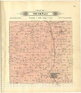 Historic 1903 Map - Plat Book of Lancaster County, Nebraska : containing Carefully Prepared Township plats, Village plats, Analysis of U.S. Land System - Plat of South Pass 38in x 44in