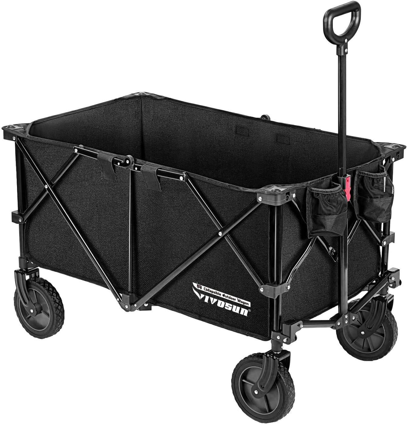 VIVOSUN Heavy Duty Collapsible Folding Wagon Utility Outdoor Camping Garden Cart with Universal Wheels & Adjustable Handle, Black : Patio, Lawn & Garden