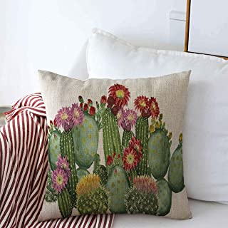 Starodet Pillow Case Exotic Green Blossom Watercolor Cactus Border Floral White Nature Botanical Desert Drawing Tropical Farmhouse Decorative Throw Pillows Covers 20