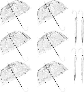 WATINC 10 Pack 47 Inch Lace Bubble Umbrellas Clear Flower Heart Pattern Stick Umbrella Dome Shape Large Canopy Transparent...
