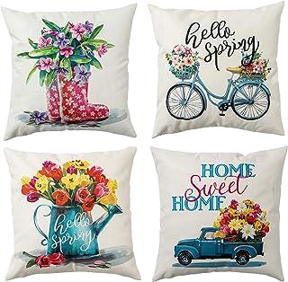 hogardeck Spring Pillow Covers 18x18, Decorative Throw Pillow Covers Set of 4, Home Sweet Home Burlap Sofa Pillow Case, He...