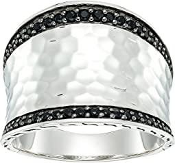 Classic Chain Hammered Saddle Ring with Black Sapphire and Spinel