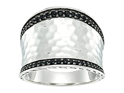 John Hardy Classic Chain Hammered Saddle Ring with Black Sapphire and Spinel (Hammered Silver) Ring
