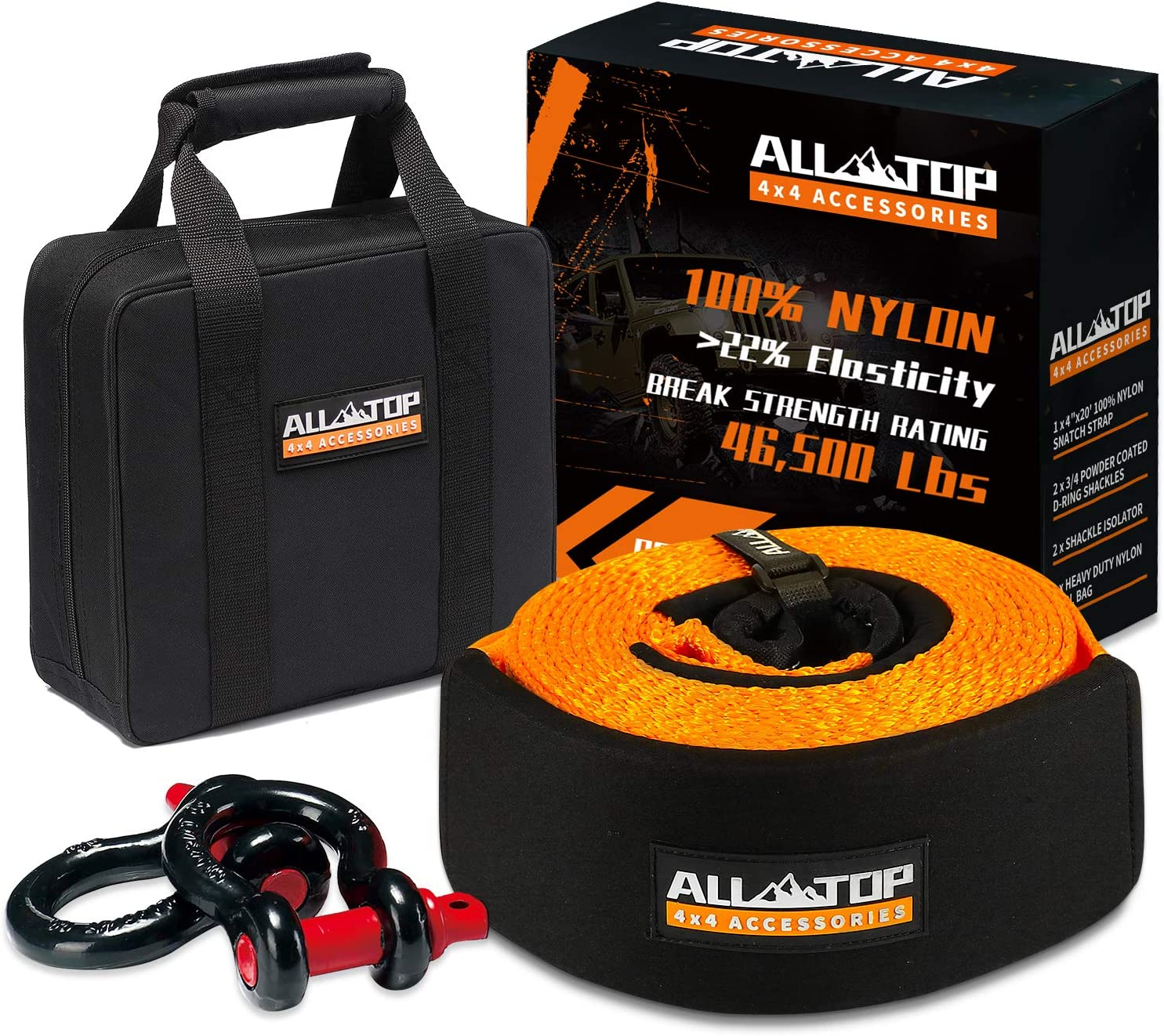 ALL-TOP Extreme Duty Tow Strap Recovery Kit : 4 inch x 20 ft (46