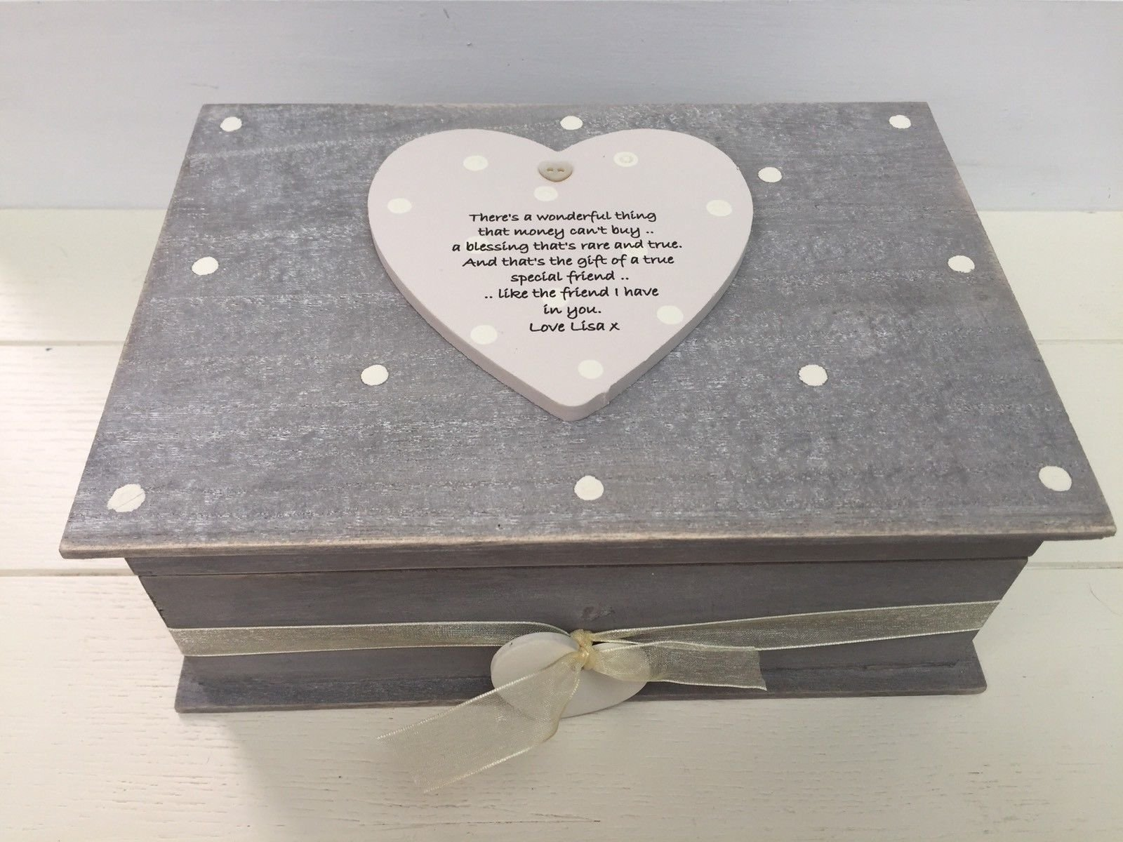 Shabby Personalised Chic Special Best Friend Keepsake Gift Box Birthday Xmas