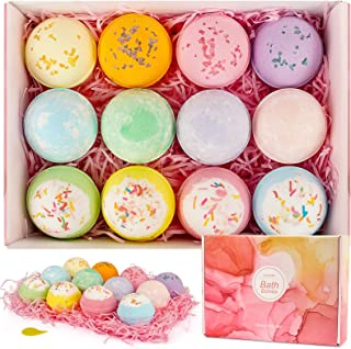 CHOOBY Bath Bombs,12 Pcs Handmade Bath Bomb Gift Set with Natural Ingredient, Sea Salts, SPA Bath, Fizzies for Moisturizing Skin, Gift for Kids, Women, Mom, Girls, Friends for Mother's Day