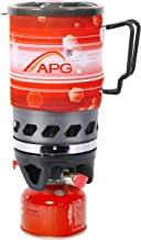 APG Mini Backpacking Camping stove, Efficient Boiling Propane Gas Hiking Camp Stove Cooking System, Lightweight Portable Burner with 0.9-Liter Pot and Extra Sleeve