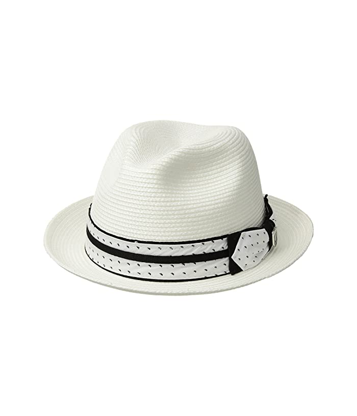 Stacy Adams Poly Braid Pinch Front Fedora with Fancy Bow (White) Caps