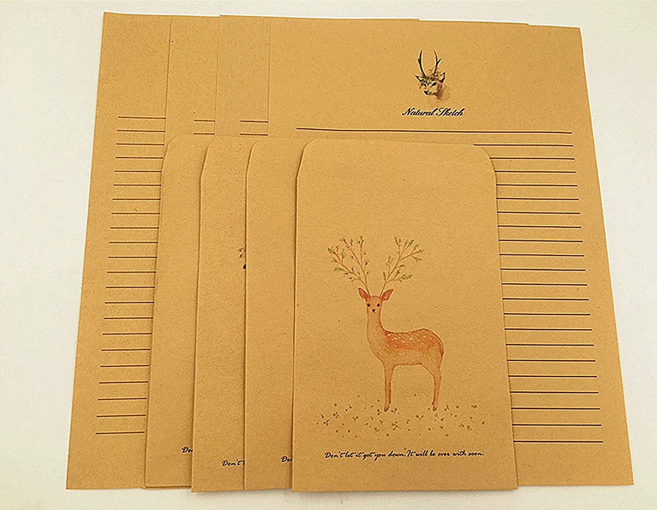 Babycola's Mum 40 Writing Stationary Paper with 8 Envelopes, Vintage Retro Cute Design,Letter Writing Paper Sets